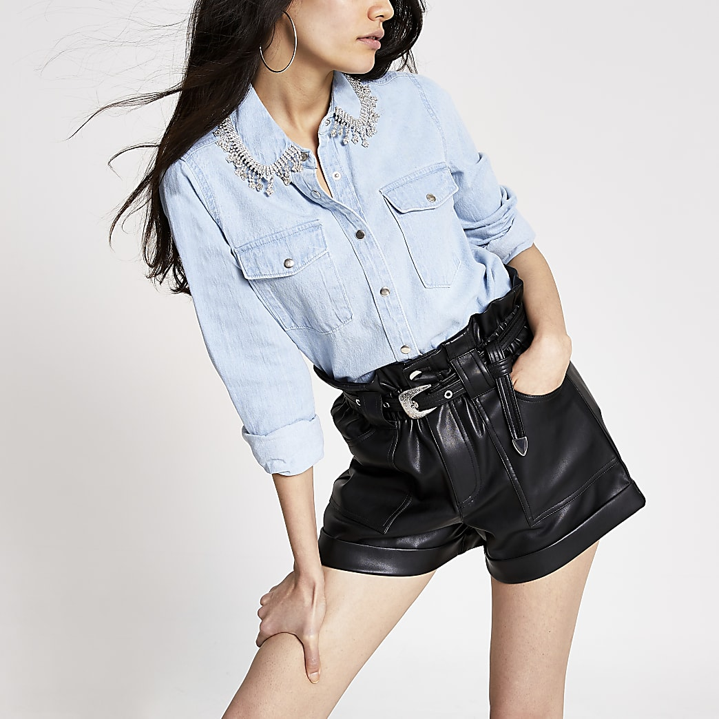 Blue diamante tassel collar denim shirt