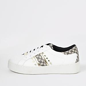 Witte sneakers met studs en RI-monogram