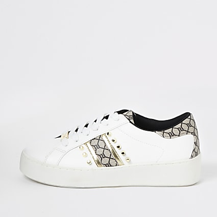 White studded RI monogram trainers