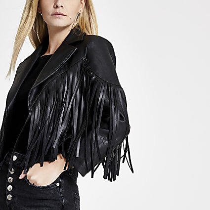 Petite black faux leather fringe crop jacket