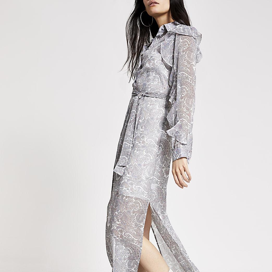 Cream printed frill sleeve maxi shirt dress