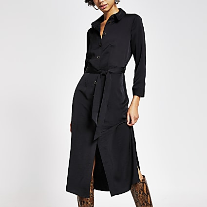 Black tie belted long sleeve midi shirt dress