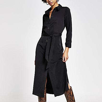 Black tie belted long sleeve midi shirt dress