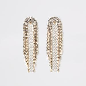 Goldene Hängeohrringe mit Strass und Perlen
