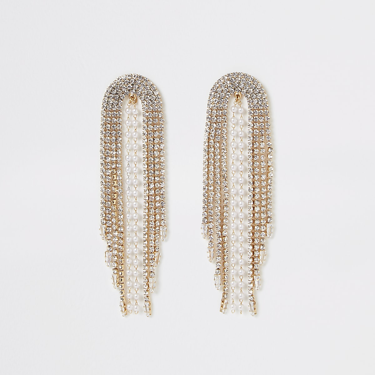 Gold colour diamante and pearl drop earrings