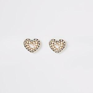 Boucles d'oreilles cœur doréesavec strass