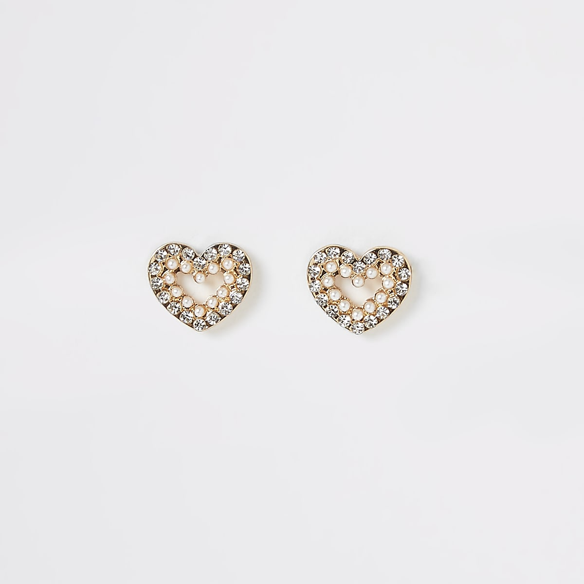 Gold colour heart diamante stud earrings