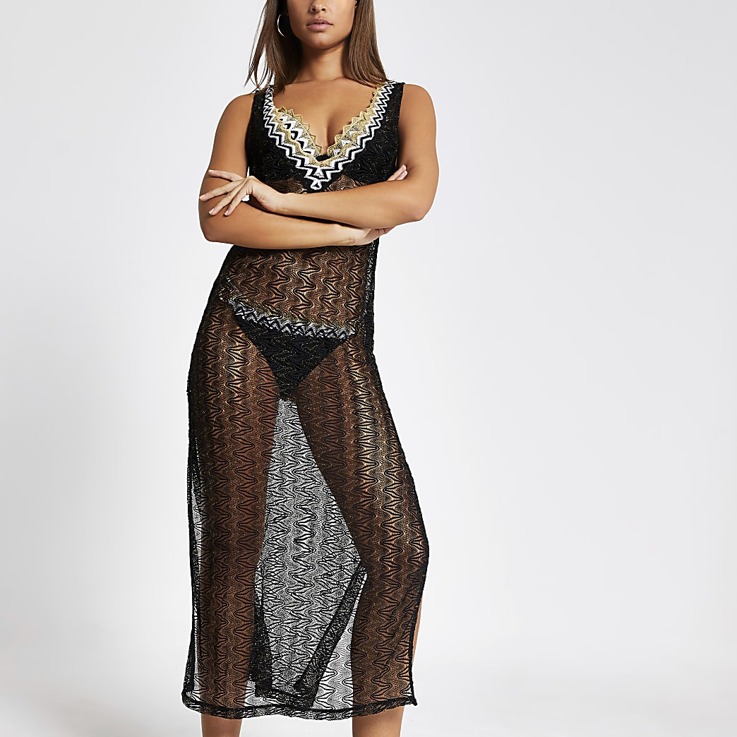 Black zip-zag knitted beach cover-up dress
