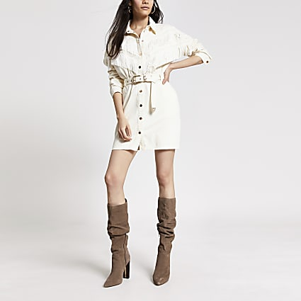 Ecru fringe front belted denim shirt dress