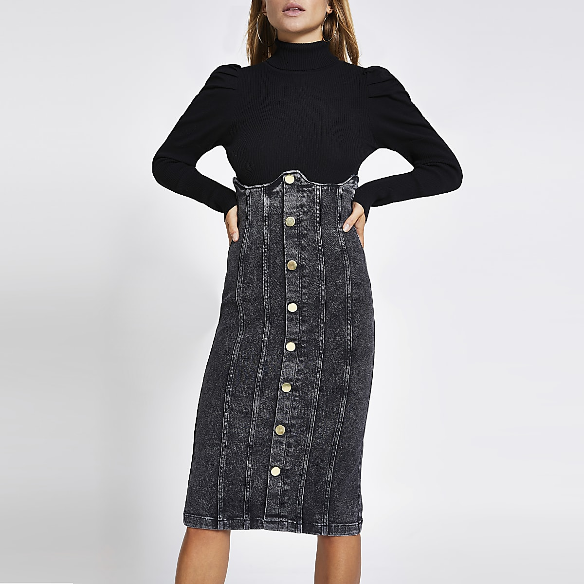 Zwarte denim rok met hoge korset taille