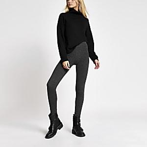 Legging gris foncé taille haute en jersey