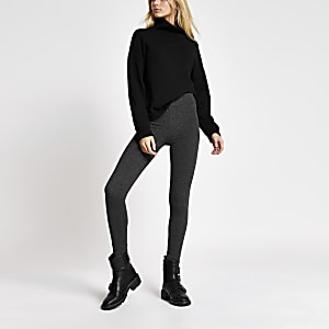 Donkergrijze trui-legging met hoge taille