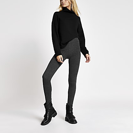 Dark grey high waisted jersey leggings