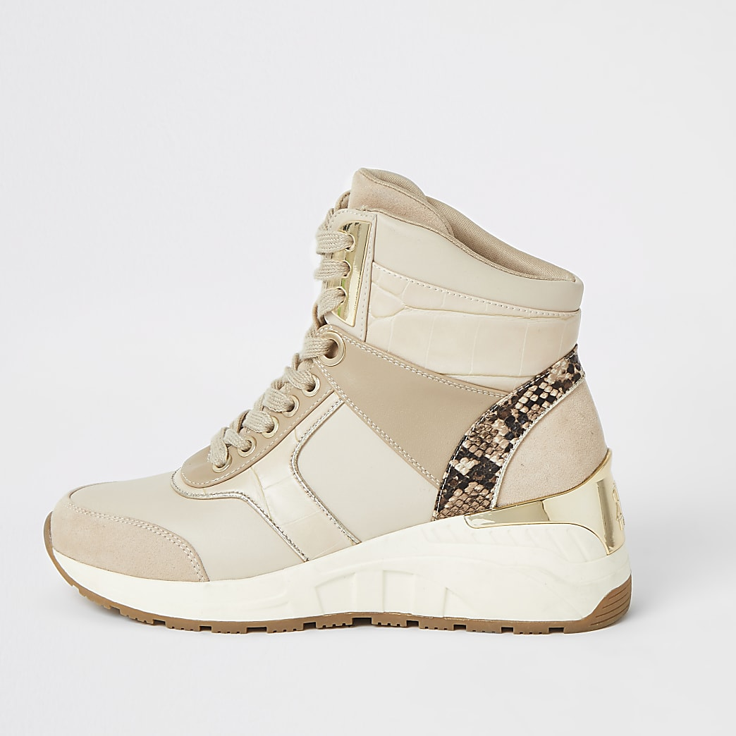 Beige high top lace-up wedge trainers
