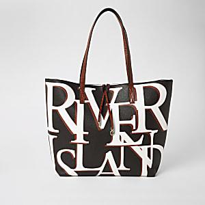 """Schwarze, bedruckte Shopper-Tote Bag """"River"""""""