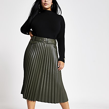 Plus khaki pleated faux leather midi skirt