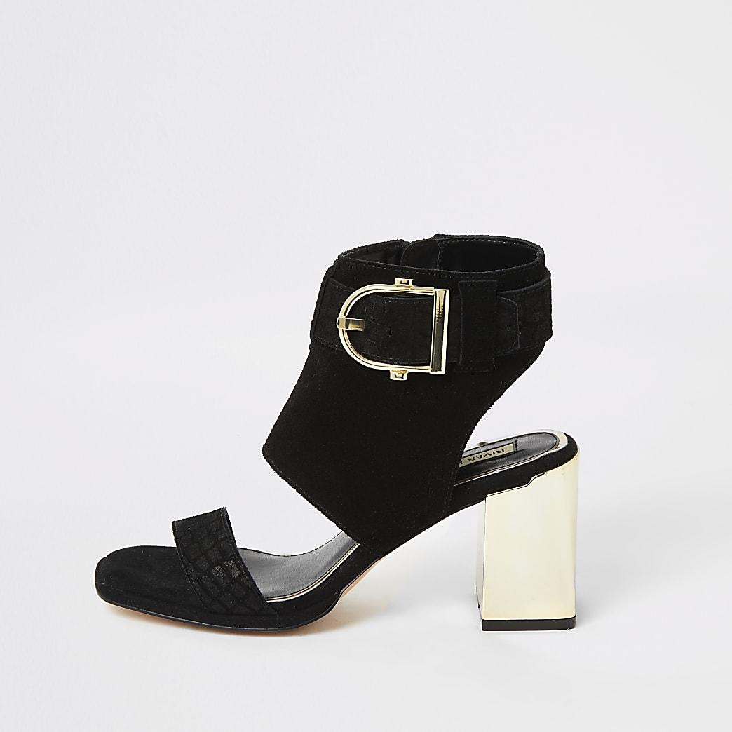 Zwarte suède schoenlaarzen met gesp en hak
