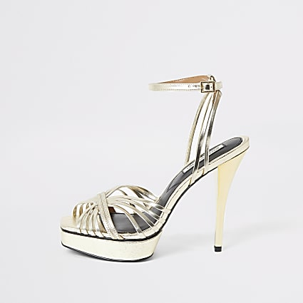 Gold metallic strappy platform heels