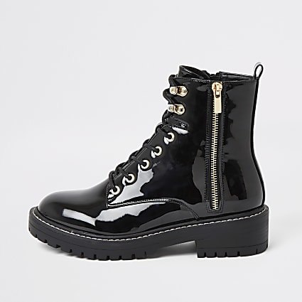 Black patent lace-up chunky ankle boots