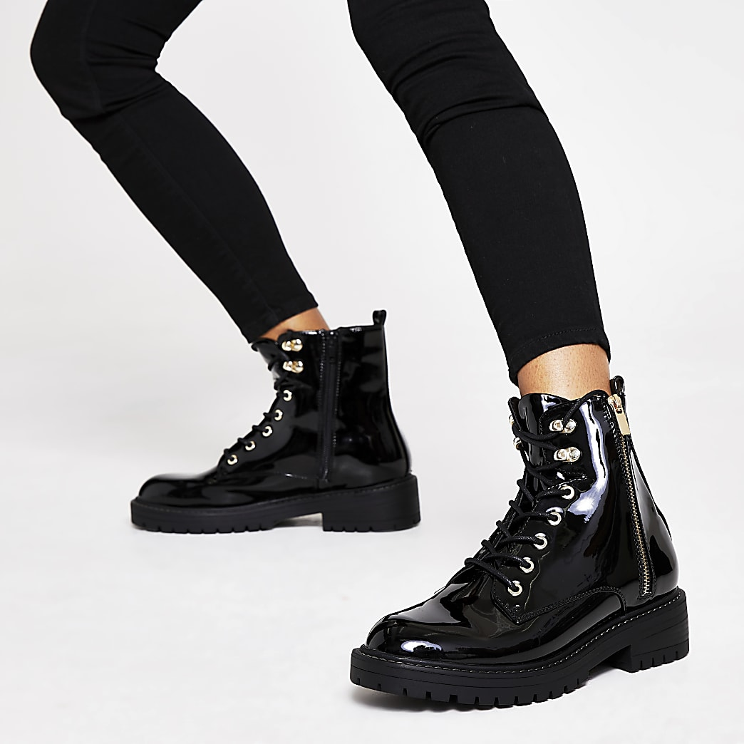 lace patent ankle chunky boots up Black 2DIEH9