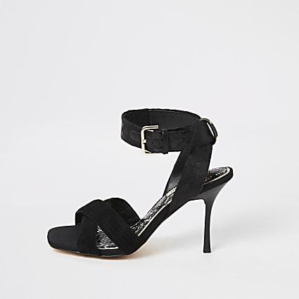 Black cross strap high heeled sandal