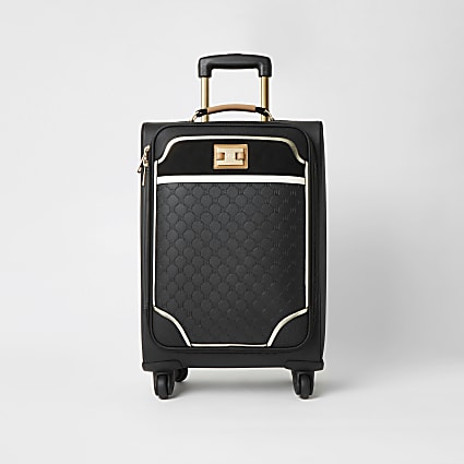 Black RI embossed four wheel suitcase