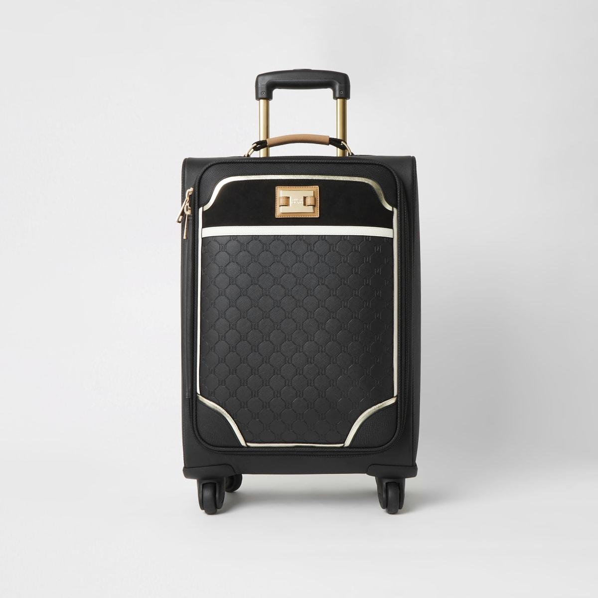 Black RI embossed four wheel suitcase