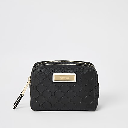 Black RI embossed double zip top make-up bag