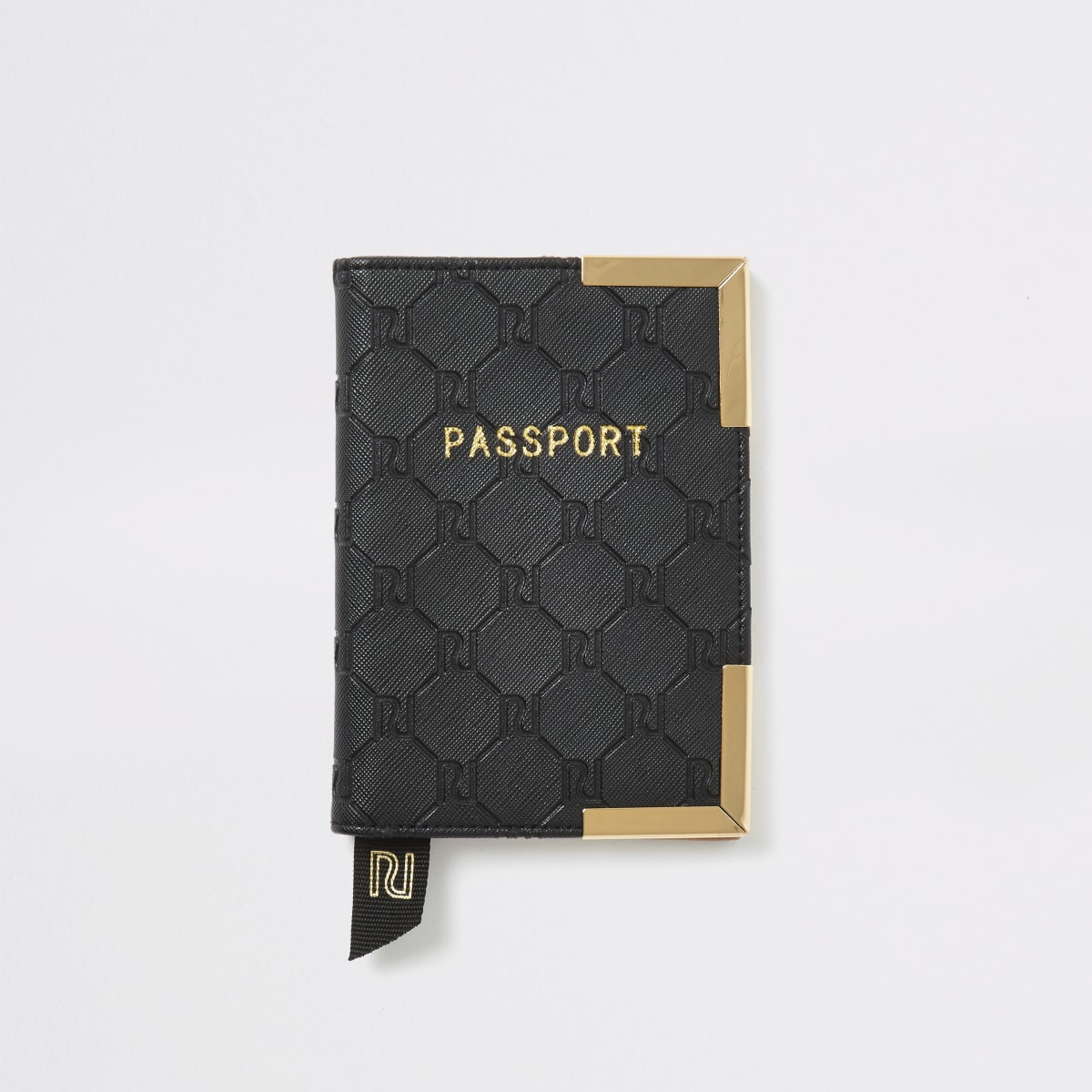 Black RI embossed passport cover