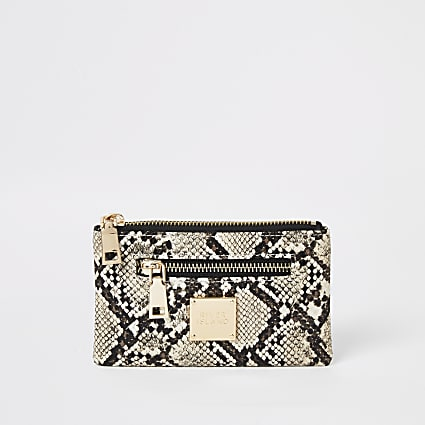 Beige snake printed mini zip pouch