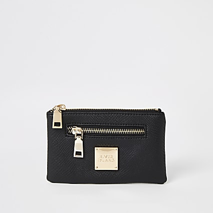 Black textured mini zip pouch