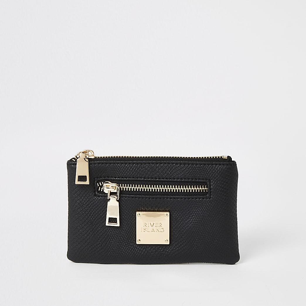 Black textured mini zip pouch