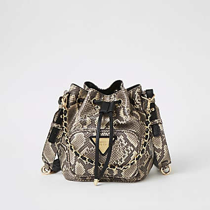Grey snake printed chain bucket bag