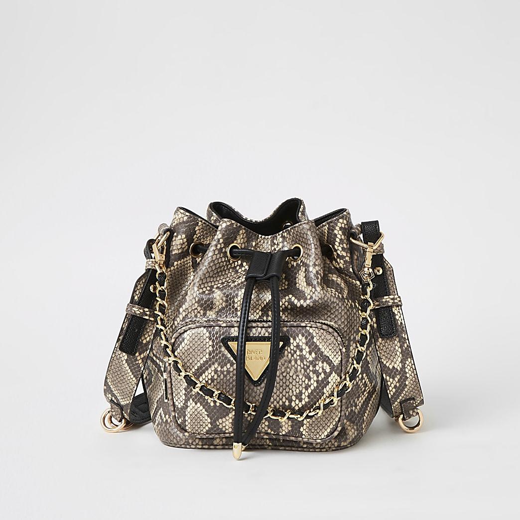Grey snake printed chain bucket bag