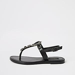 Sandales entredoigt noires ornées, coupe large