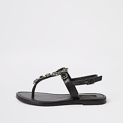 Black embellished wide fit toe thong sandals