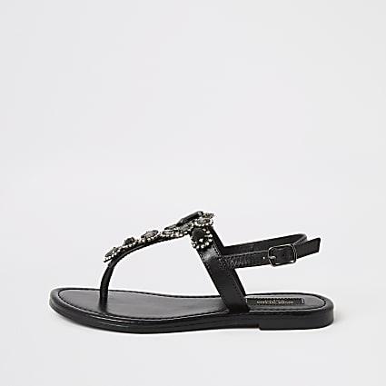 Black embellished wide fit toe thong sandals