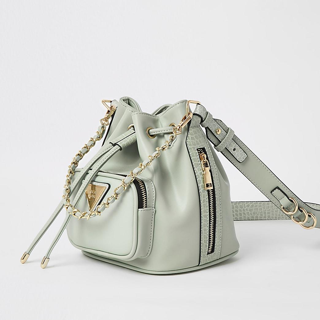 Green chain bucket bag