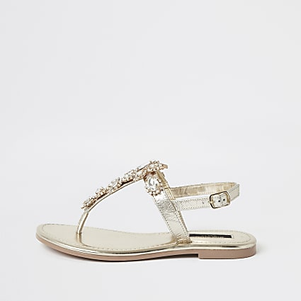 Gold embellished wide fit toe thong sandals
