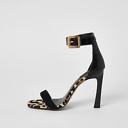 Black barely there wide fit heeled sandals