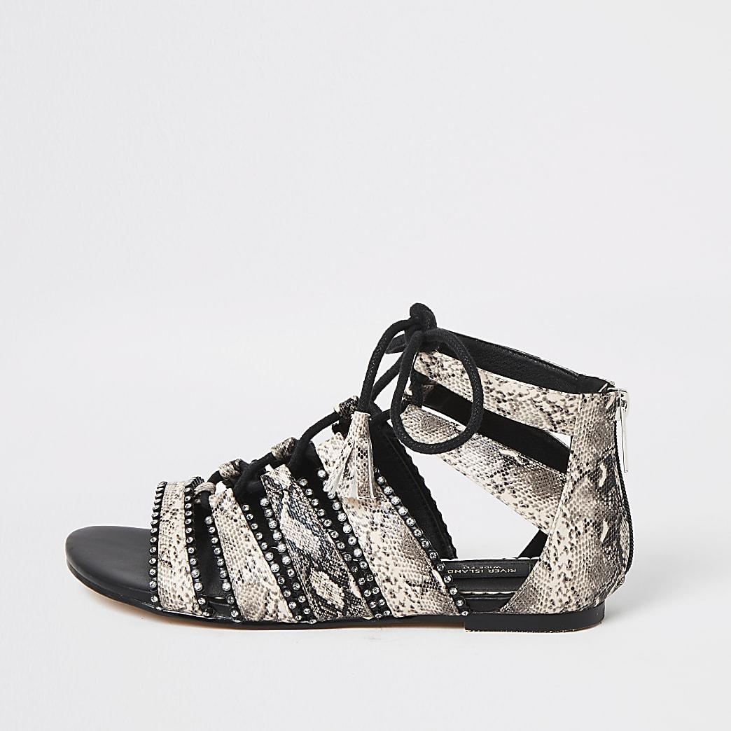 Pink lace-up diamante wide fit sandals