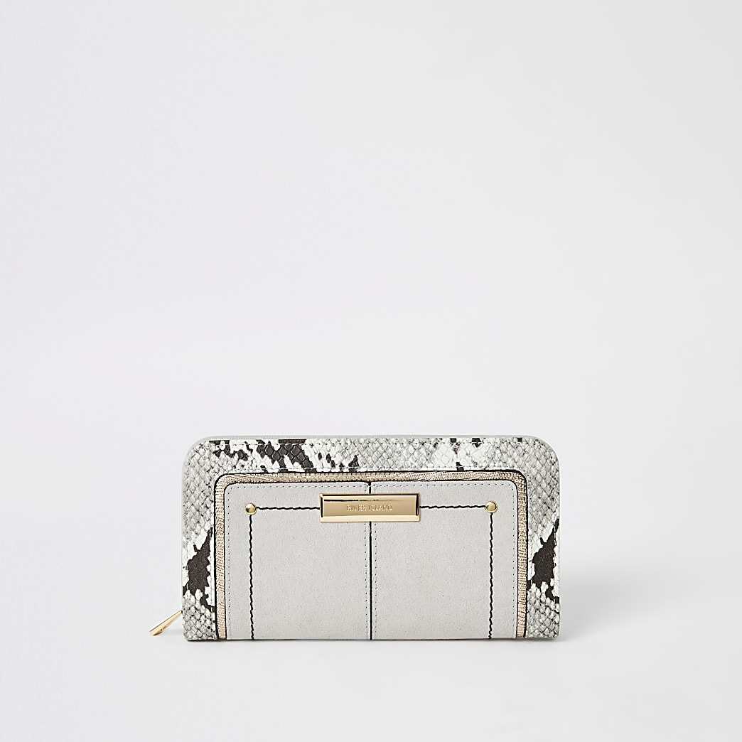 Grey snake print zip around purse