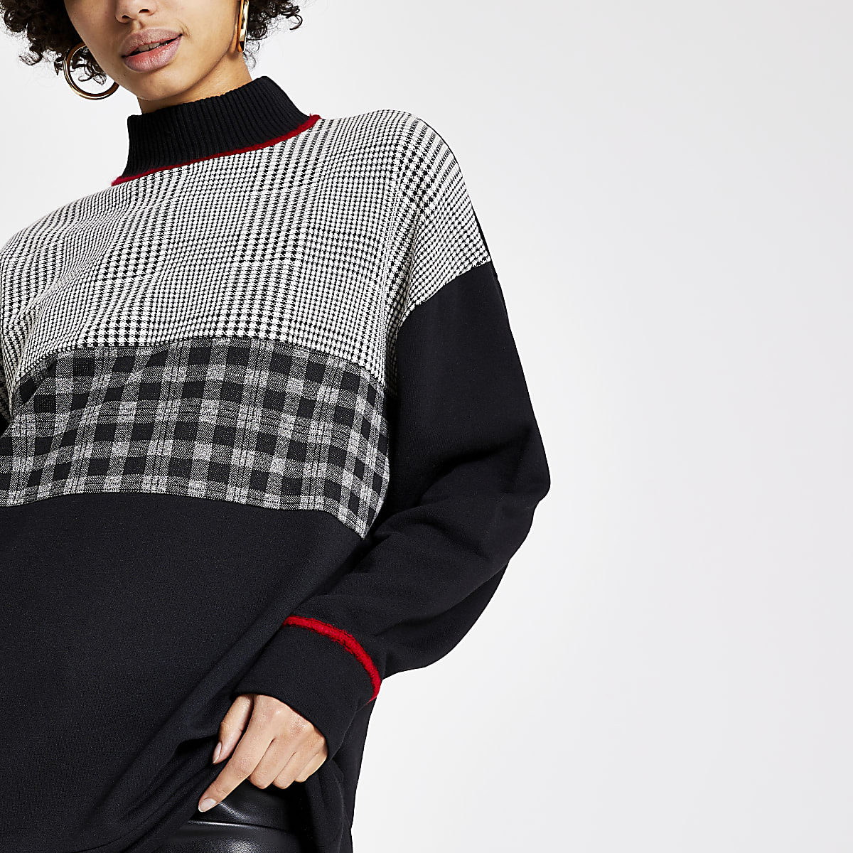 Black check blocked high neck sweatshirt
