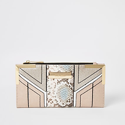 Pink snake embossed cut about fold out purse