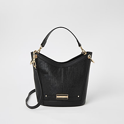 Black weave cross body bucket bag