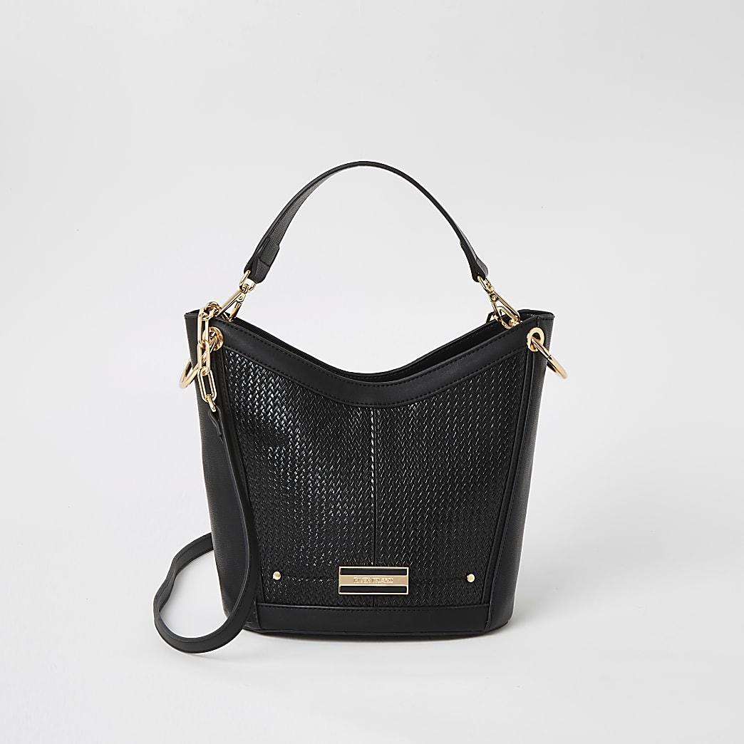 Black weave cross body bucket bag