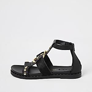 Black studded ankle gladiator sandals