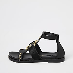 Black studded ankle gladiator sandals