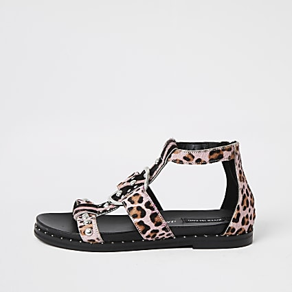 Pink animal print studded gladiator sandals