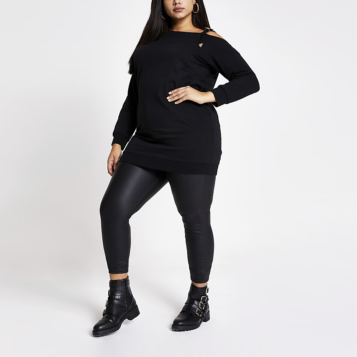 Plus black buckle strap sweater dress